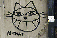 Europe/France/Ile de France/75013/Paris: Graffiti représentant un chat à la Gare d'Austerlitz