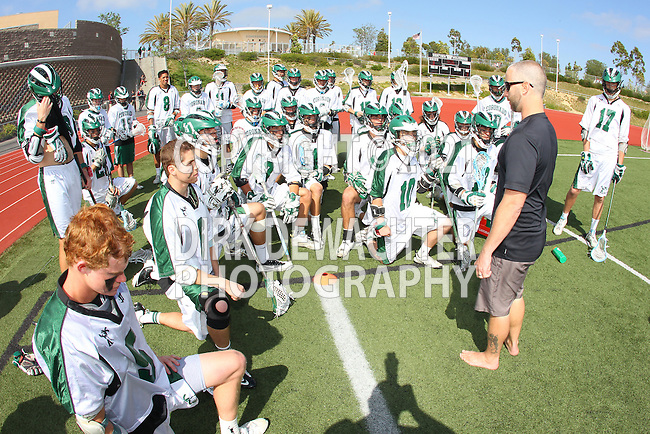 San Diego, CA 05/21/11 - Coronado Head Coach Alex Cade addresses tthe team at half time during the 2011 CIF San Diego Section Division 2 Varsity Lacrosse Championship between Cathedral Catholic and Coronado.