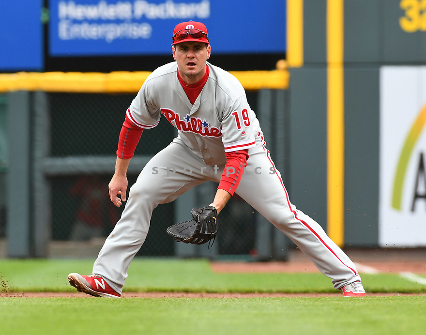 Philadelphia Phillies Tommy Joseph (19) during a game against the Cincinnati Reds on April 6, 2017 at Great American Ballpark in Cincinnati, OH. The Reds beat the Phillies 4-7.