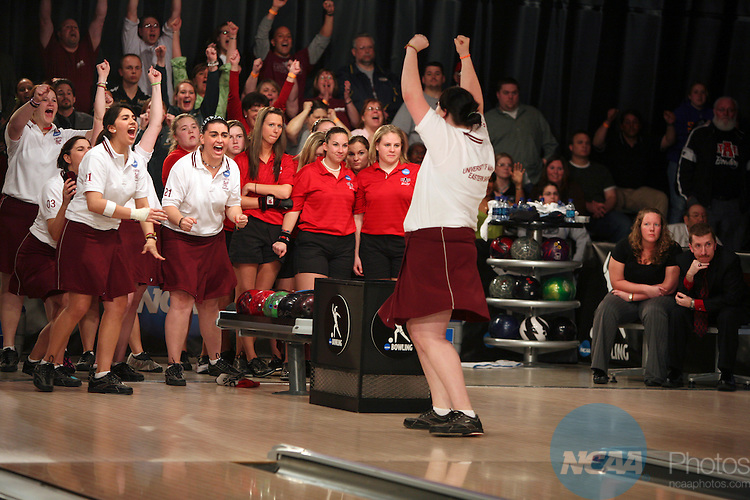 12 APR 2008: Members of the University of Marlyand Eastern Shore bowling team celebrate with their fans cheering them on during the Division I Women?s Bowling Championship held at Thunder Alley in Omaha, NE.   Alyssa Schukar/NCAA Photos