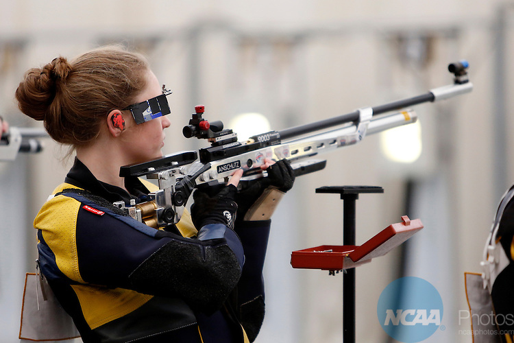 12 MAR 2016:  Mackenzie Martin, of Murray State University, shoots in the NCAA Division I Men's and Women's Rifle Championship held at the Stile Athletics Field House in Akron, OH.  Martin finished fourth in the competition with a final score of 163.3.  Jay LaPrete/NCAA Photos