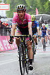 Race leader Simon Yates (GBR) Mitchelton-Scott in the Maglia Rosa crosses the finish line at the end of a very wet Stage 8 of the 2018 Giro d'Italia, running 209km from Praia a Mare to Montevergine di Mercogliano, Italy. 12th May 2018.<br /> Picture: LaPresse/Gian Mattia D'Alberto | Cyclefile<br /> <br /> <br /> All photos usage must carry mandatory copyright credit (&copy; Cyclefile | LaPresse/Gian Mattia D'Alberto)