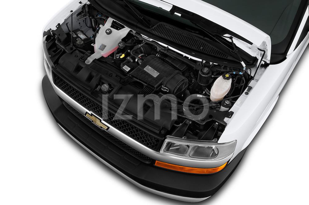 Car Stock 2016 Chevrolet Express 3500-LS 4 Door Passenger Van Engine  high angle detail view