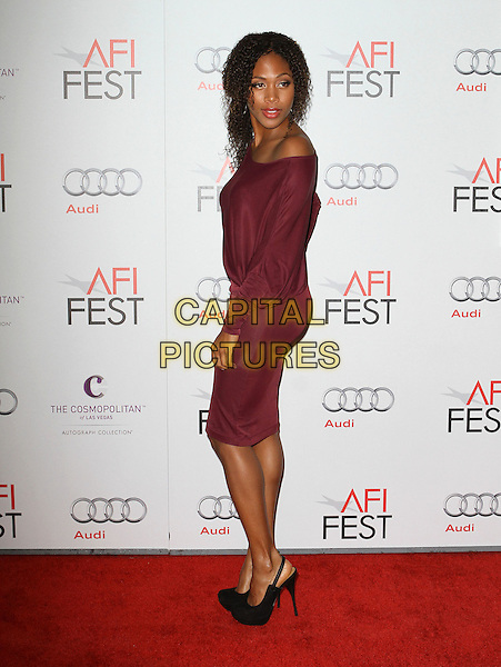 "Nicole Beharie.AFI Fest 2011  Premiere Of ""Shame"" Held At Grauman's Chinese Theatre, Hollywood, California, USA..November 9th, 2011.full length black dress shoes pink purple off the shoulder side .CAP/ADM/KB.©Kevan Brooks/AdMedia/Capital Pictures."