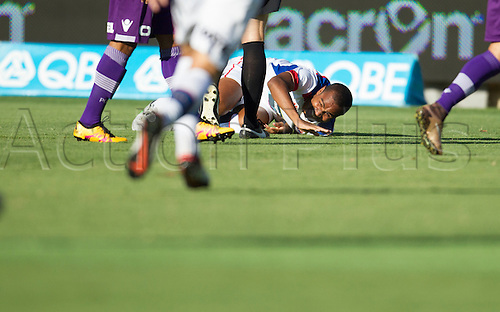 07.03.2016, Perth, Australia. Hyundai A-League, Perth Glory versus Newcastle Jets. Leonardo Santiago is fouled during the first half.
