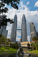 KLCC Park Lake With Whale Sculpture And Petronas Towers, Kuala Lumpur, Malaysia