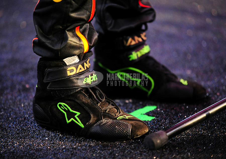 Feb 10, 2011; Daytona Beach, FL, USA; Detailed view of the shoes of NASCAR Nationwide Series driver Danica Patrick during media day at Daytona International Speedway. Mandatory Credit: Mark J. Rebilas-