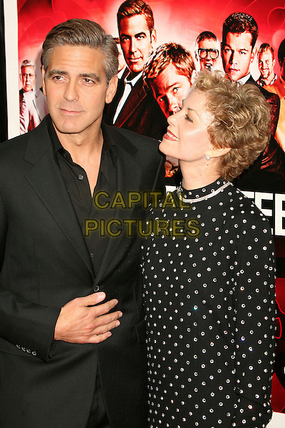 "GEORGE CLOONEY & NINA (MOTHER).""Ocean's Thirteen"" Los Angeles Premiere at Grauman's Chinese Theatre, Hollywood, California, USA..June 5th, 2007.HALF length black suit jacket polka dot white mom mum son family profile .CAP/ADM/BP.©Byron Purvis/AdMedia/Capital Pictures"