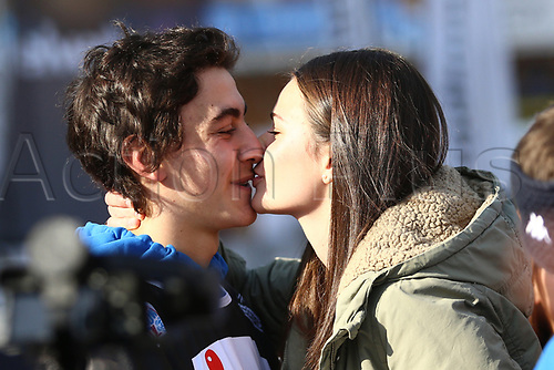11th November 2017, Milan, Italy; Big Air FIS Freestyle Snowboard World Cup; Emil Zulian gets an affectionate kiss from his friend