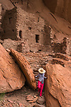A visitor at the Ancestral Pueblan ruin called the River House, near the San Juan River in the Shash Jaa Unit of the Bears Ears National Monument in southeastern Utah.