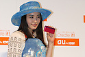 Actress Yukie Nakama shows KDDI au?s new mobile handset the spring season.  19 January, 2009. (Taro Fujimoto/JapanToday/Nippon News) TOKYO --<br /> <br /> Mobile carrier KDDI au on Thursday unveiled 12 new mobile handsets for the spring season. The new handsets are made by Sony Ericsson, Hitachi, Toshiba, Casio, Sharp, Panasonic, Kyocera for consumers and HCT for corporate users.