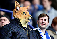 A Leicester fan wears a fox mask during the Barclays Premier League match between Leicester City and Swansea City played at The King Power Stadium, Leicester on April 24th 2016