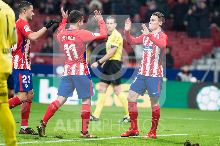 Atletico de Madrid Vitolo Machin, Angel Martin Correa and Kevin Gameiro celebrating a goal during King's Cup match between Atletico de Madrid and Lleida Esportiu at Wanda Metropolitano in Madrid, Spain. January 09, 2018. (ALTERPHOTOS/Borja B.Hojas)