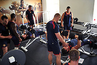 Visiting rugby league side Wigan Warriors make use of the gym facilities at Farleigh House. Bath Rugby pre-season training on August 18, 2014 at Farleigh House in Bath, England. Photo by: Patrick Khachfe/Onside Images