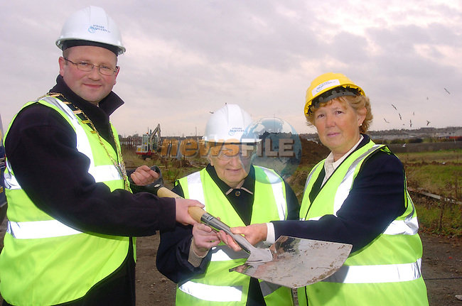 Mayor Ged Nash with Drogheda swimming club founder members Kitty McCabe and Olive Brady at the turning of the Sod on the new 9 million euro swimming pool in Marleys Lane...Photo Fran Caffrey Newsfile.ie..This Picture has been sent to you by Newsfile Ltd..The Studio,.Millmount Abbey,.Drogheda,.Co. Meath,.Ireland..Tel: +353(0)41-9871240.Fax: +353(0)41-9871260.ISDN: +353(0)41-9871010.www.newsfile.ie..general email: pictures@newsfile.ie