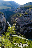 The Verdon Gorge in southern France is about 25 km in length and up to 700 meters deep. It was formed by the Verdon River.