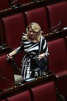 Giuseppina Castiello con un vestito zebrato<br /> Roma 25-02-2014 Camera. Voto di fiducia al nuovo Governo.<br /> Senate. Trust vote for the new Government.<br /> Photo Samantha Zucchi Insidefoto