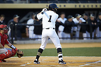 Drew Kendall (1) of the Wake Forest Demon Deacons at bat against the Sacred Heart Pioneers at David F. Couch Ballpark on February 15, 2019 in  Winston-Salem, North Carolina.  The Demon Deacons defeated the Pioneers 14-1. (Brian Westerholt/Four Seam Images)