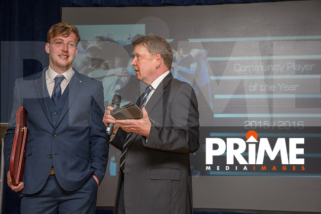 Alex Lynch (left) is interviewed by Bill Turnbull after receiving the Community Player of the Year award during the Wycombe Wanderers End of Season 2016 Awards Dinner at Adams Park, High Wycombe, England on 1 May 2016. Photo by David Horn