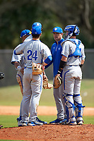 Seton Hall Pirates pitching coach Phil Cundari (13) meets with relief pitcher Sam Burum (36), third baseman Joe Poduslenko (24), and catcher Mike Alescio (51) during a game against the Indiana Hoosiers on March 5, 2016 at North Charlotte Regional Park in Port Charlotte, Florida.  Seton Hall defeated Indiana 6-4.  (Mike Janes/Four Seam Images)