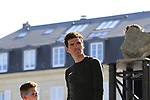 Greg Van Avermaet (BEL) BMC Racing Team looks wishfully at the winners trophy on display at the Team Presentation for the upcoming 115th edition of the Paris-Roubaix 2017 race held in Compiegne, France. 8th April 2017.<br /> Picture: Eoin Clarke | Cyclefile<br /> <br /> <br /> All photos usage must carry mandatory copyright credit (&copy; Cyclefile | Eoin Clarke)