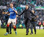 29.12.2019 Celtic v Rangers: Borna Barisic and Steven Gerrard celebrate at full time