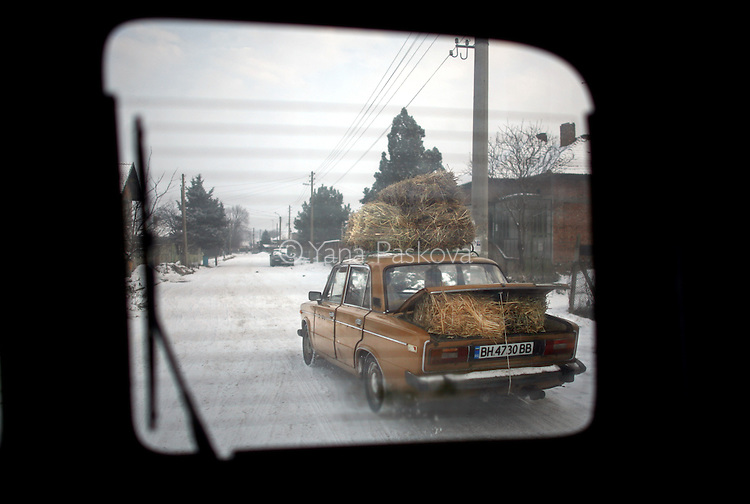 Hay bells are transported through a village in Bulgaria in January 2009.