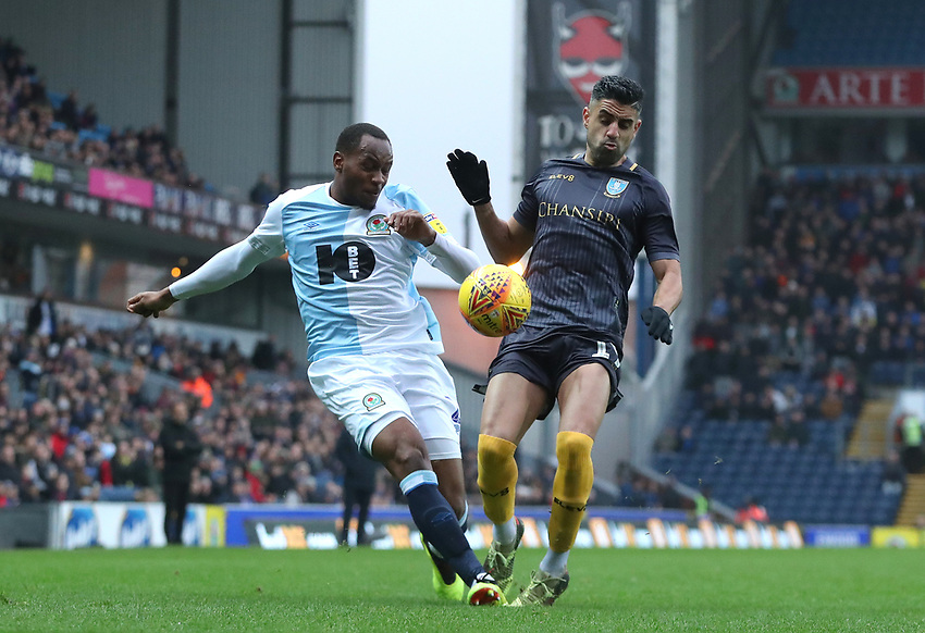 Blackburn Rovers' Ryan Nyambe and Sheffield Wednesday Marco Andre<br /> <br /> Photographer Rachel Holborn/CameraSport<br /> <br /> The EFL Sky Bet Championship - Blackburn Rovers v Sheffield Wednesday - Saturday 1st December 2018 - Ewood Park - Blackburn<br /> <br /> World Copyright © 2018 CameraSport. All rights reserved. 43 Linden Ave. Countesthorpe. Leicester. England. LE8 5PG - Tel: +44 (0) 116 277 4147 - admin@camerasport.com - www.camerasport.com