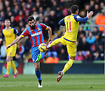 Crystal Palace's Joe Ledley tussles with Arsenal's Mesut Ozil<br /> <br /> Barclays Premier League - Crystal Palace  vs Arsenal  - Selhurst Park - England - 21st February 2015 - Picture David Klein/Sportimage