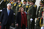 Palestinian President Mahmoud Abbas welcomes Malta's President Marie-Louise Coleiro Preca during a reception ceremony, in the West Bank city Ramallah, on January 31, 2019. Photo by Ahmad Arouri