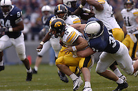 23 October 2004:  Penn State's Paul Posluszny (31) sacks Iowa QB Drew Tate (5)..Iowa defeated Penn State 6-4  October 23, 2004 at Beaver Stadium in State College, PA....