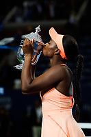 Sloane Stephens of United States celebrate his victory and pose with the trophy during the Women's Single finals match on Day Thirteen of the Us Open 2017 at USTA Billie Jean King National Tennis Center on September 8, 2017 in New York City. (Photo by Marek Janikowski/Icon Sport)