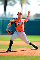Baltimore Orioles pitcher Jacob Pettit (21) during a minor league Spring Training game against the Atlanta Braves at Al Lang Field on March 13, 2013 in St. Petersburg, Florida.  (Mike Janes/Four Seam Images)