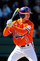 Shortstop Tyler Krieger (3) of the Clemson Tigers in the Reedy River Rivalry game against the South Carolina Gamecocks on March 1, 2014, at Fluor Field at the West End in Greenville, South Carolina. South Carolina won, 10-2.  (Tom Priddy/Four Seam Images)