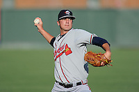 Starting pitcher Chad Sobotka (32) of the Rome Braves warms up before a game against the Greenville Drive on Monday, June 15, 2015, at Fluor Field at the West End in Greenville, South Carolina. Sobotka was a fourth-round pick of the Atlanta Braves in the 2014 First-Year Player Draft out of the University of South Carolina Upstate in Spartanburg, South Carolina. (Tom Priddy/Four Seam Images)