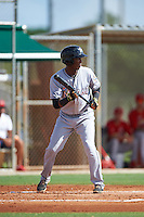 GCL Marlins Marcos Rivera (10) squares to bunt during the first game of a doubleheader against the GCL Cardinals on August 13, 2016 at Roger Dean Complex in Jupiter, Florida.  GCL Cardinals defeated GCL Marlins 4-2 in a continuation of a game originally started on August 8th.  (Mike Janes/Four Seam Images)
