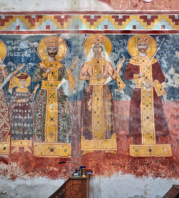 Pictures & images of the Byzantine fresco panels on the north wall of the Gelati Georgian Orthodox Church of the Virgin, 1106, depicting scenes from left to right: Prince Bagrat, King George II, Queen Helen, King Bagrat III of Imereti.  The medieval Gelati monastic complex near Kutaisi in the Imereti region of western Georgia (country). A UNESCO World Heritage Site.
