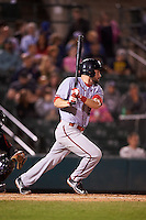 Syracuse Chiefs first baseman Caleb Ramsey (28) at bat during a game against the Rochester Red Wings on July 1, 2016 at Frontier Field in Rochester, New York.  Rochester defeated Syracuse 5-3.  (Mike Janes/Four Seam Images)