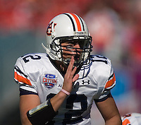 01 January 2007: Auburn quarterback Brandon Cox audibles at the line of scrimmage during the 2007 AT&T Cotton Bowl Classic between The University of Auburn and The University of Nebraska at The Cotton Bowl in Dallas, TX.