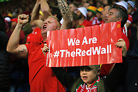 Wales supporters cheer their team on during the FIFA World Cup Qualifier Group D match between Wales and Republic of Ireland at The Cardiff City Stadium, Wales, UK. Monday 09 October 2017