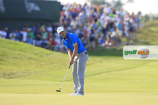 Jordan Spieth (USA) putts on the 15th green during Sunday's Final Round of the 97th US PGA Championship 2015 held at Whistling Straits, Mosel, Kohler, Wisconsin, United States of America. 16/08/2015.<br /> Picture Eoin Clarke, www.golffile.ie