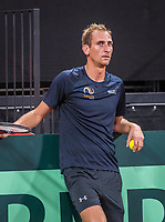 The Hague, The Netherlands, September 13, 2017,  Sportcampus , Davis Cup Netherlands - Chech Republic, Training Dutch team, Thiemo de Bakker (NED)<br /> Photo: Tennisimages/Henk Koster