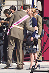 01.10.2012. The Spanish Royal Family, King Juan Carlos, Queen Sofia, Prince Felipe, Princess Letizia and Princess Elena attend the imposition of collective Distinguished Cross San Fernando Al Banner Armored Cavalry Regiment ´Alcántara´ No. 10 in the Royal Palace in Madrid, Spain. In the image Prince Felipe and Princess Elena (Alterphotos/Marta Gonzalez)