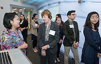 Catherine Young Selleck '55. Occidental College students and faculty gather at the annual Young Student Grant Showcase & Dinner, where Young Student Grant recipients present their research that was sponsored by the John Parke Young Initiative on the Global Economy. Jan. 23, 2017 in the Johnson Global Forum.<br /> (Photo by Marc Campos, Occidental College Photographer)