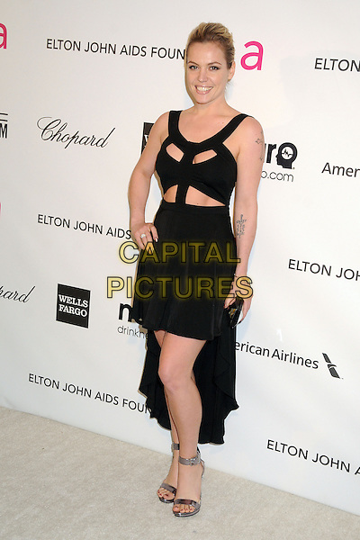 Agnes Bruckner.21st Annual Elton John Academy Awards Viewing Party held at West Hollywood Park, West Hollywood, California, USA..February 24th, 2013.oscars full length black dress cut out away mini train hand on hip tattoos silver ankle strap shoes open toe sandals .CAP/ADM/BP.©Byron Purvis/AdMedia/Capital Pictures.