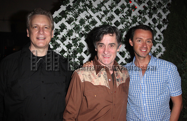 Rick Elice, Roger Rees & Andrew Lippa.attending the After Performance Reception for Brooke Shields debut in 'The Addams Family' at the Empire Hotel Roof in New York City.