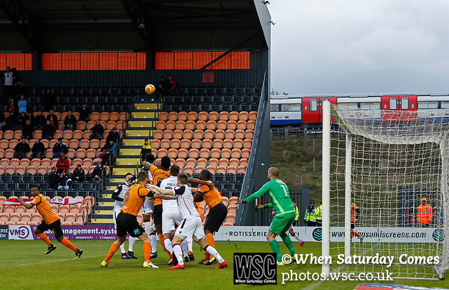 Barnet 2 Morecambe 0, 16/12/2017. The Hive, League Two. Morecombe defend a corner as a tube train passes. Photo by Paul Thompson.