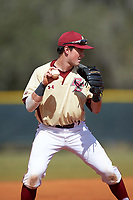 Boston College Eagles third baseman Joe Cronin (4) during a game against the Central Michigan Chippewas on March 8, 2016 at North Charlotte Regional Park in Port Charlotte, Florida.  Boston College defeated Central Michigan 9-3.  (Mike Janes/Four Seam Images)