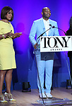 Gayle King and Brandon Victor Dixon during The 73rd Annual Tony Awards Nominations Announcement on April 30, 2019 in New York City.