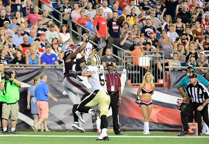Thursday August 11, 2016: New Orleans Saints linebacker Nate Stupar (54) covers New England Patriots running back James White (28) in the endzone during an NFL pre-season game between the New Orleans Saints and the New England Patriots held at Gillette Stadium in Foxborough Massachusetts. The Patriots defeat the Saints 34-22 in regulation time. Eric Canha/CSM